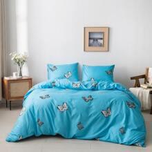 Bettwaesche Set mit Schmetterling Muster ohne Fuellstoff