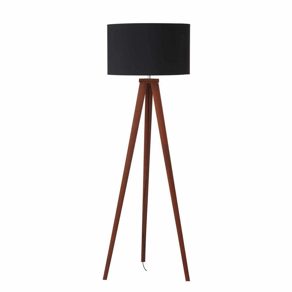 Dreifuss-Stehlampe aus Eschenholz mit schwarzem Lampenschirm H155