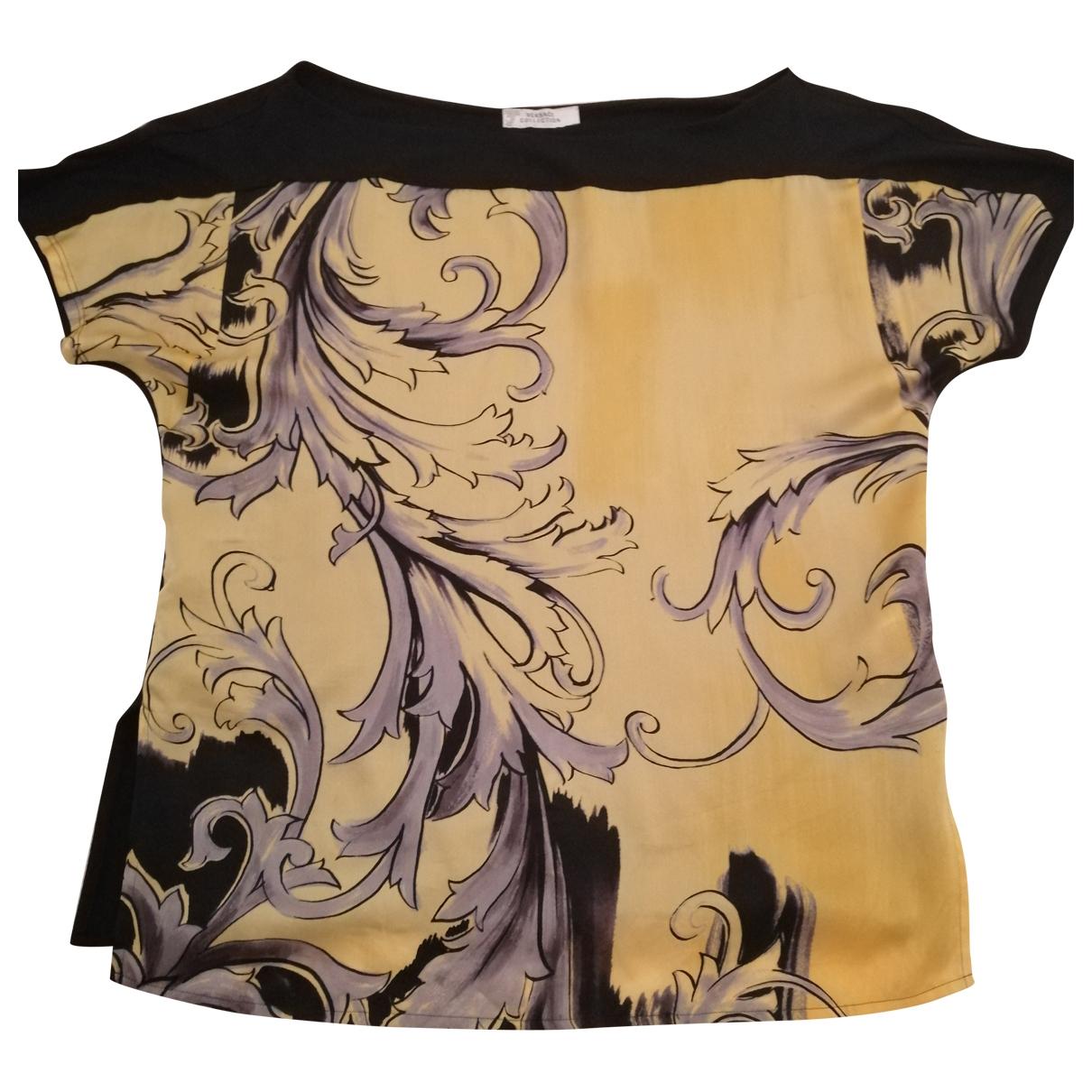 Versace - Top   pour femme en soie - jaune