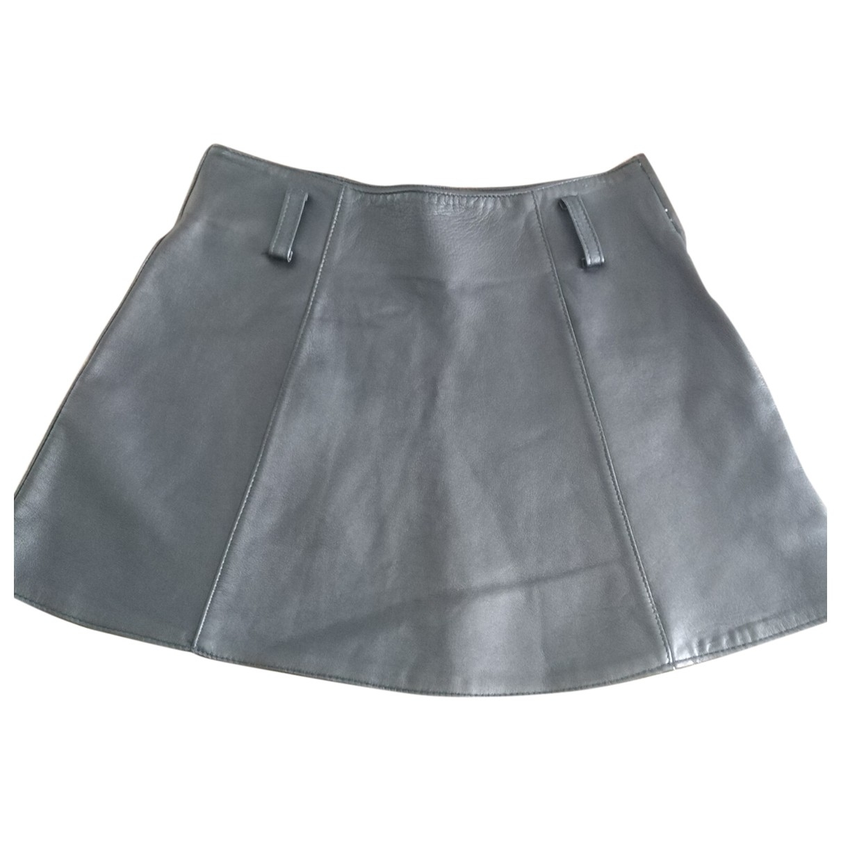 Non Signé / Unsigned \N Black Leather skirt for Women 44 IT
