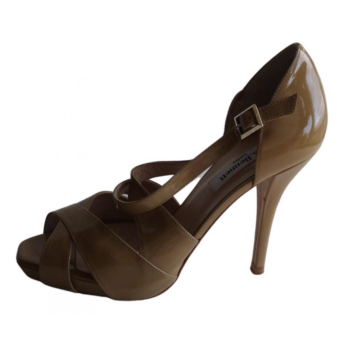Lk Bennett N Beige Patent leather Sandals for Women 37.5 EU
