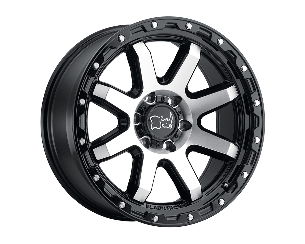 Black Rhino Coyote Wheel 17x9  8x170 6mm Gloss Black w/Machined Face & Stainless Bolts
