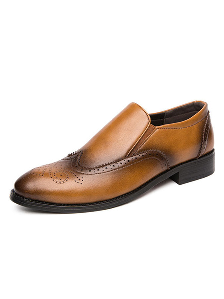 Milanoo Mens Brown Loafers Shoes Popular PU Leather Distressed Slip-On Shoes
