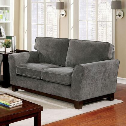 Caldicot Collection CM6954GY-LV Loveseat with Flared Arms  Welt Trim Box Cushion Seat and Tight Woven Chenille Upholstery in Grey