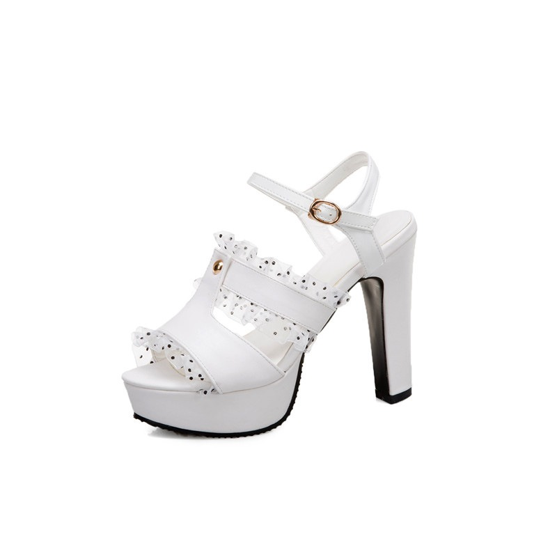 Ericdress Buckle Peep Toe Chunky Heel Hollow Sandals