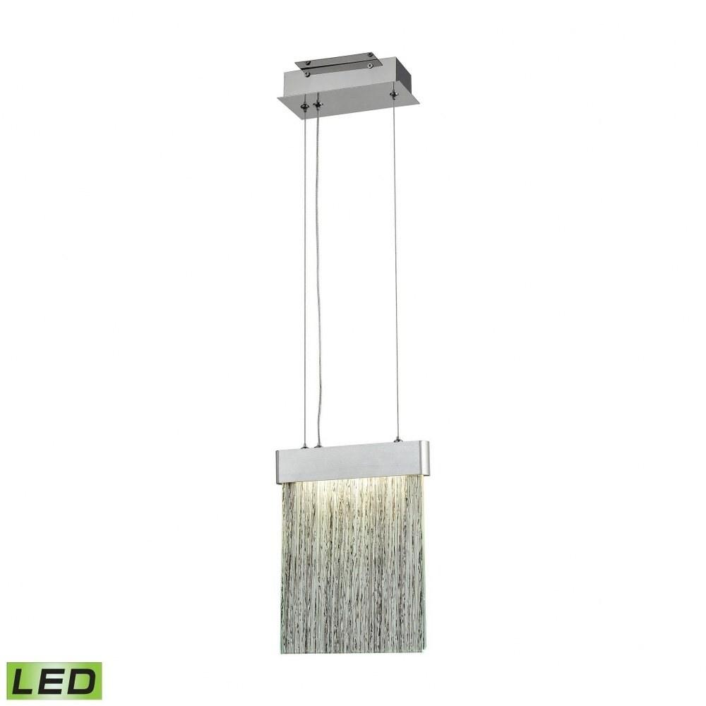 Satin Aluminum Polished Chrome 1-Light Led Mini Pendant With Textured Architectural Fused Organic (Satin Aluminum/Polished Chrome)