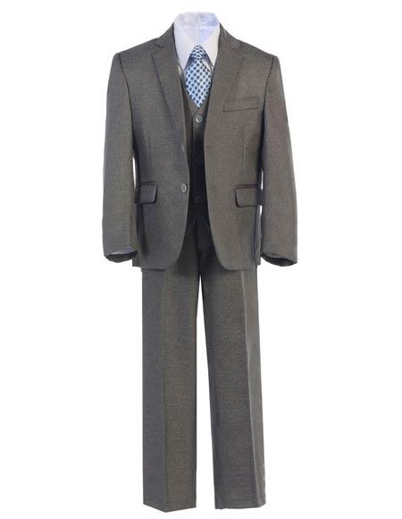 Boys Kid Teen 2ButtonPolyester Formal Vested Dress Suit Medium Grey