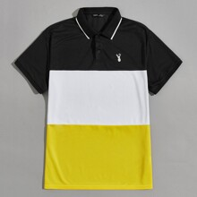 Men Deer Embroidered Colorblock Polo Shirt