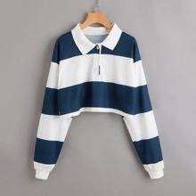 Contrast Panel Polo Sweatshirt