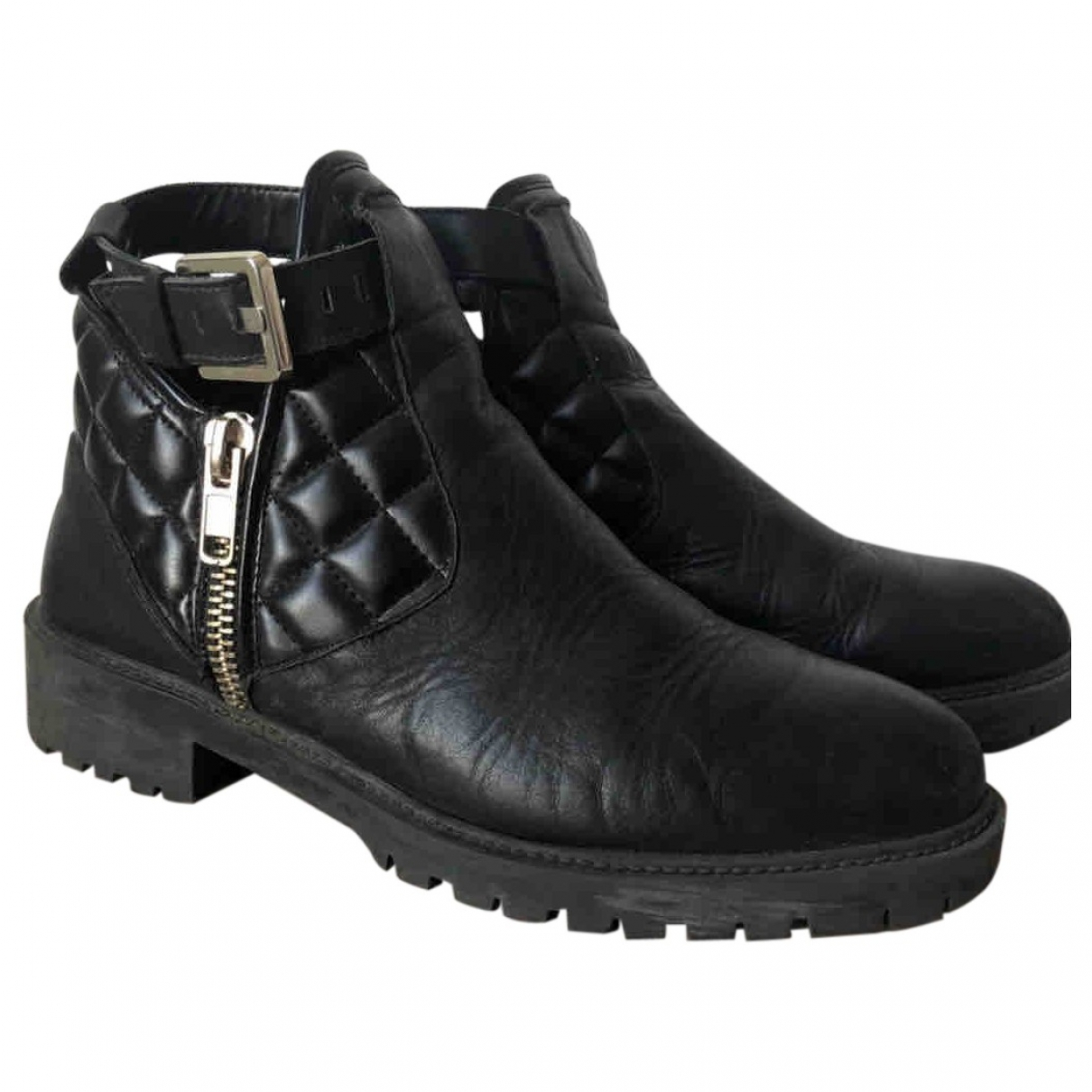 Zara \N Black Leather Ankle boots for Women 39 EU