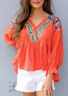 Vintage Aztec Geometric Blouse - Orange
