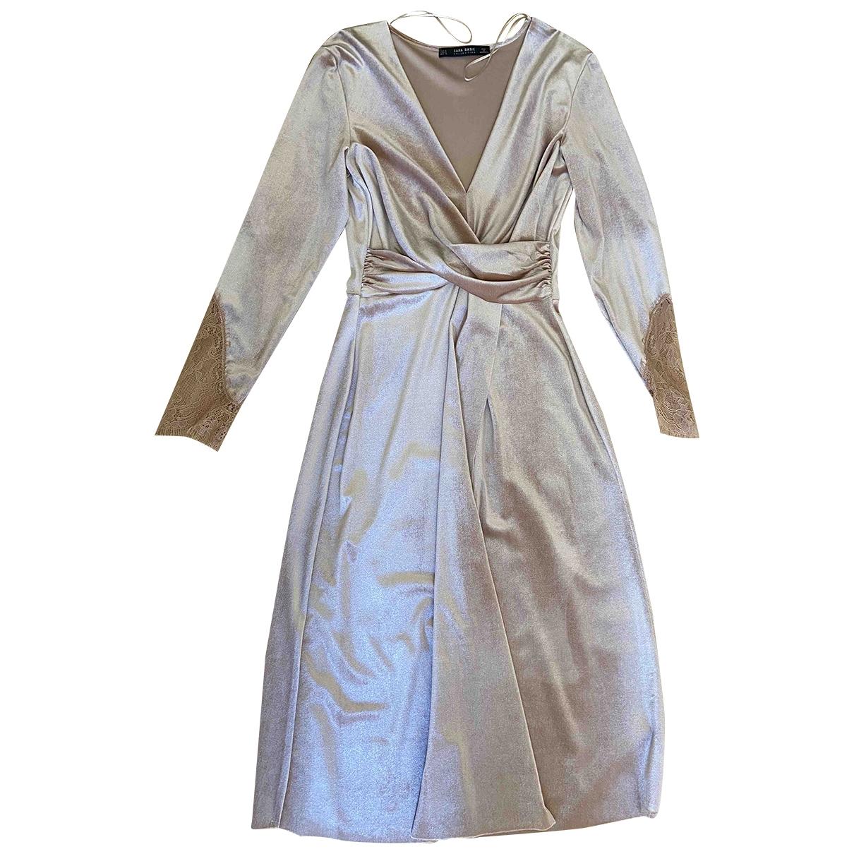 Zara \N Kleid in  Rosa Samt