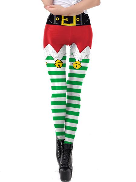 Milanoo Women Christmas Legging Christmas Pattern Skinny Leg Pant Holidays Costumes