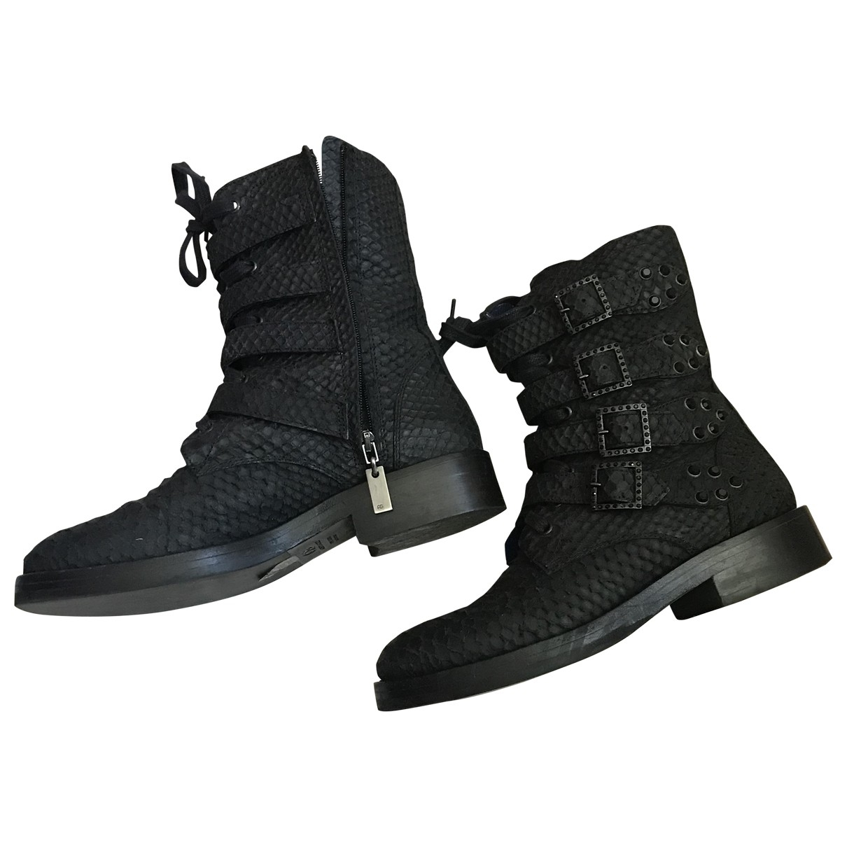 Non Signé / Unsigned \N Black Leather Ankle boots for Women 38 EU