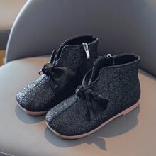 Maedchen Stiefel mit Schleife & Glitzer Dekor und Reissverschluss