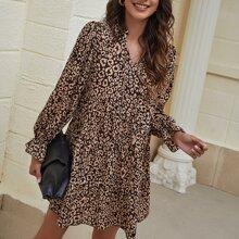 Vestidos Volante rigido Leopardo Elegante