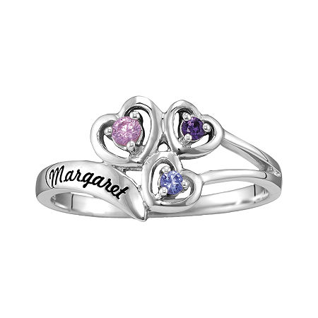 Womens Simulated Multi Color Stone Sterling Silver Heart 3-Stone Cocktail Ring, 5 , No Color Family