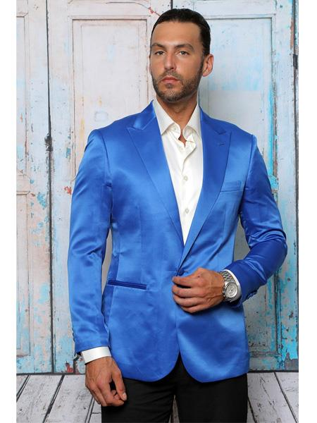 Mens Shiny Flashy Satin Solid Blazer ~ Sport Coat Royal Blue Available