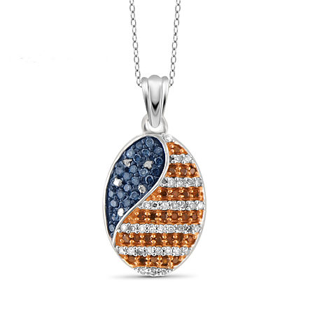 Womens 1/4 CT. T.W. Multi Color Diamond Sterling Silver Pendant Necklace, One Size , No Color Family