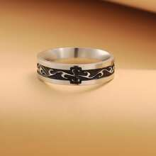 Guys Stainless Steel Carved Ring