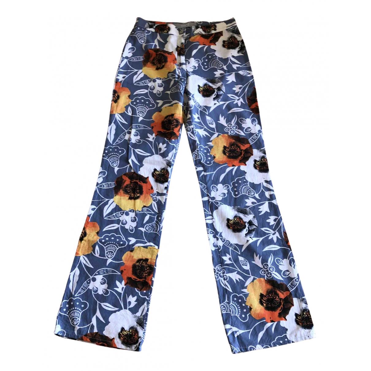 Versace N Blue Cotton Trousers for Women 40 IT