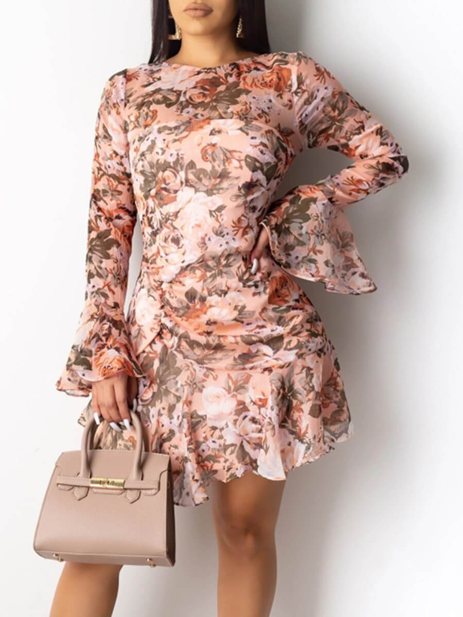 LW Lovely Sweet Flared Print Patchwork Pink Mini Dress