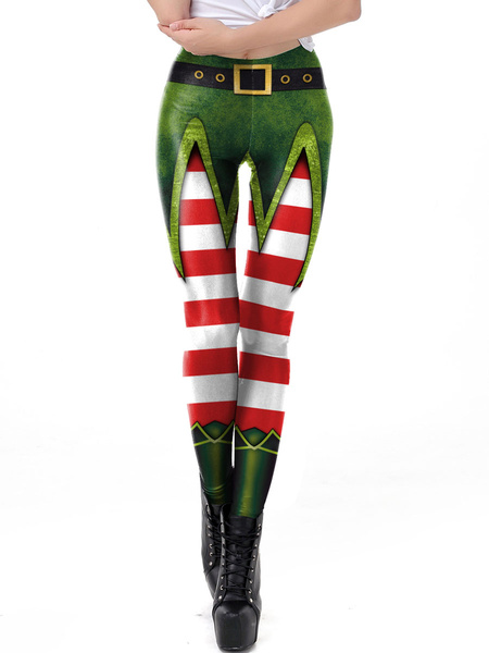 Milanoo Women Christmas Leggings Christmas Tree Print Green Holiday Skinny Leg Pant