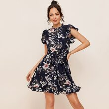 Knotted Backless Ruffle Hem Belted Floral Dress
