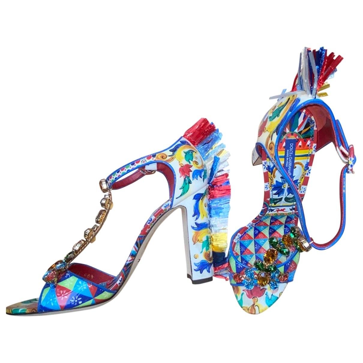 Dolce & Gabbana - Sandales   pour femme en cuir verni - multicolore