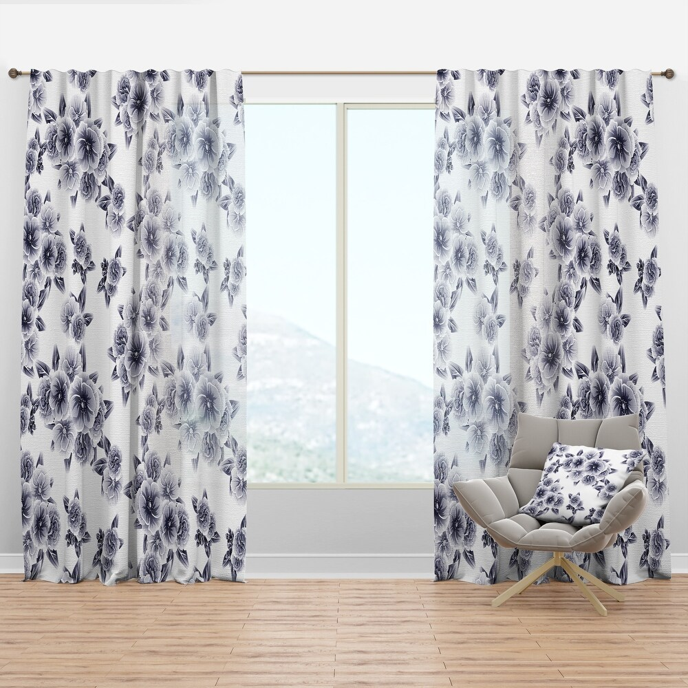 Designart 'Vintage Style Flower Pattern' Modern & Contemporary Curtain Panel (50 in. wide x 90 in. high - 1 Panel)