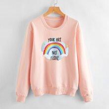 Sweatshirt mit Regenbogen & Buchstaben Grafik