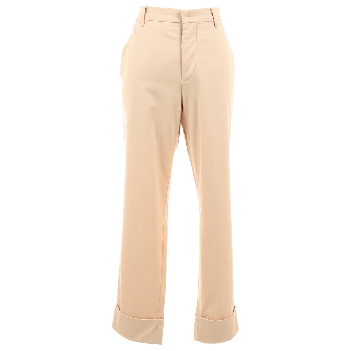 Miu Miu N Camel Cotton Trousers for Women 40 IT