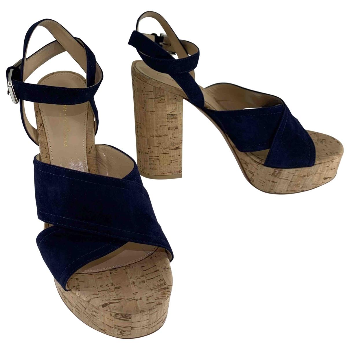 Gianvito Rossi - Sandales   pour femme en suede - bleu