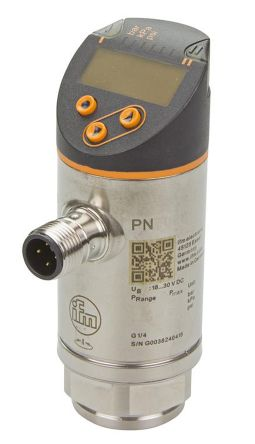 ifm electronic Pressure Sensor for Fluid , 2.5bar Max Pressure Reading Analogue + PNP-NO/NC Programmable