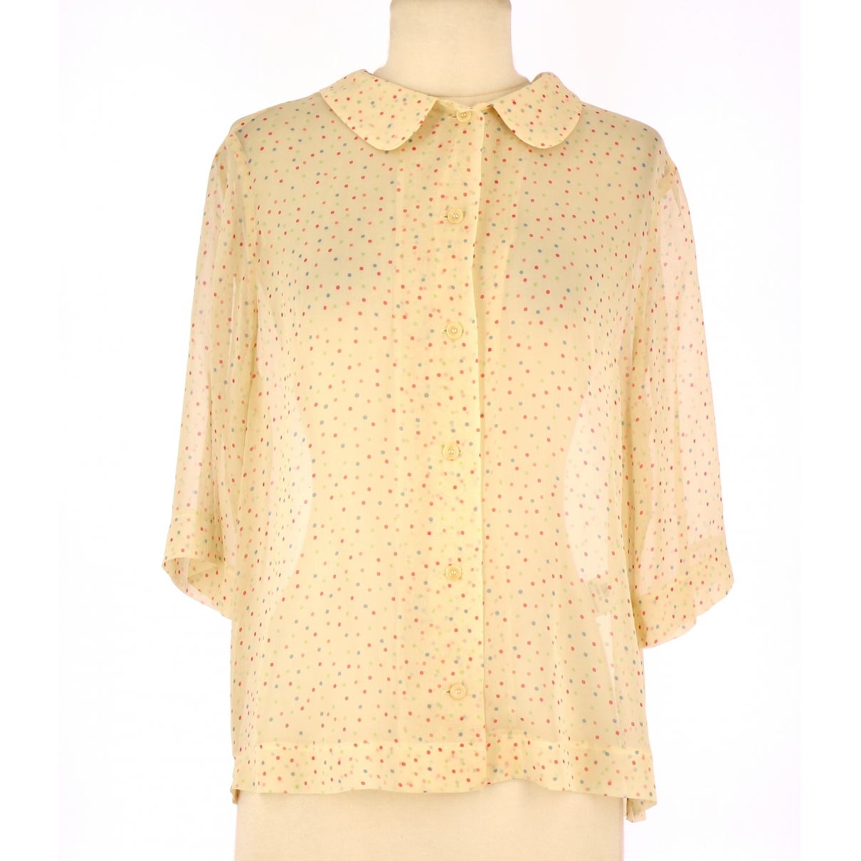 Non Signé / Unsigned \N Beige Silk  top for Women 36 FR
