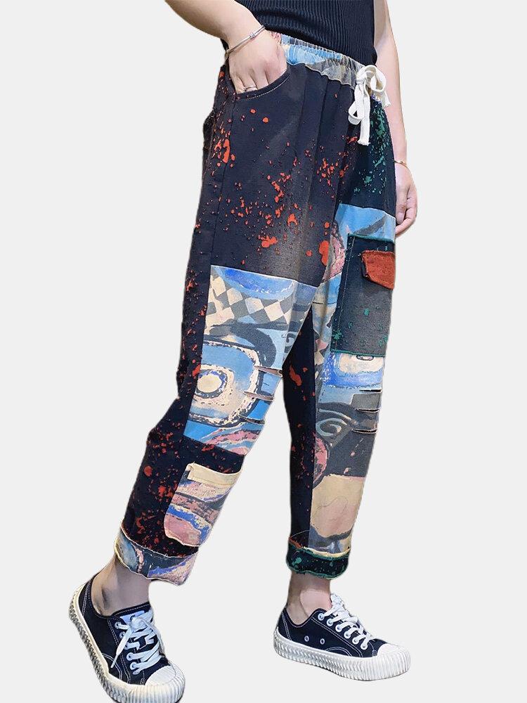 Printed Patchwork Elastic Waist Drawstring Pants For Women