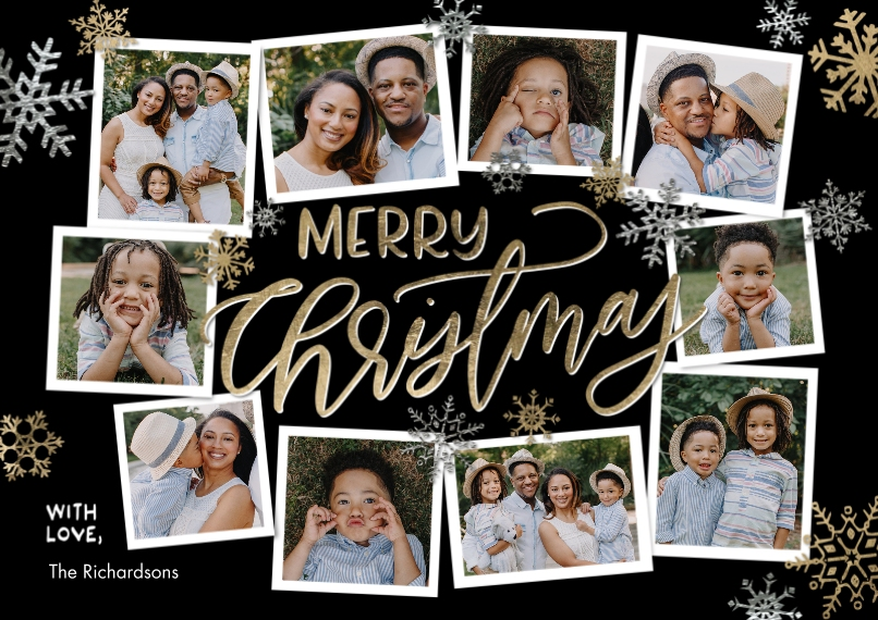 Christmas Photo Cards 5x7 Cards, Premium Cardstock 120lb with Elegant Corners, Card & Stationery -Christmas Collage Snowflakes by Tumbalina
