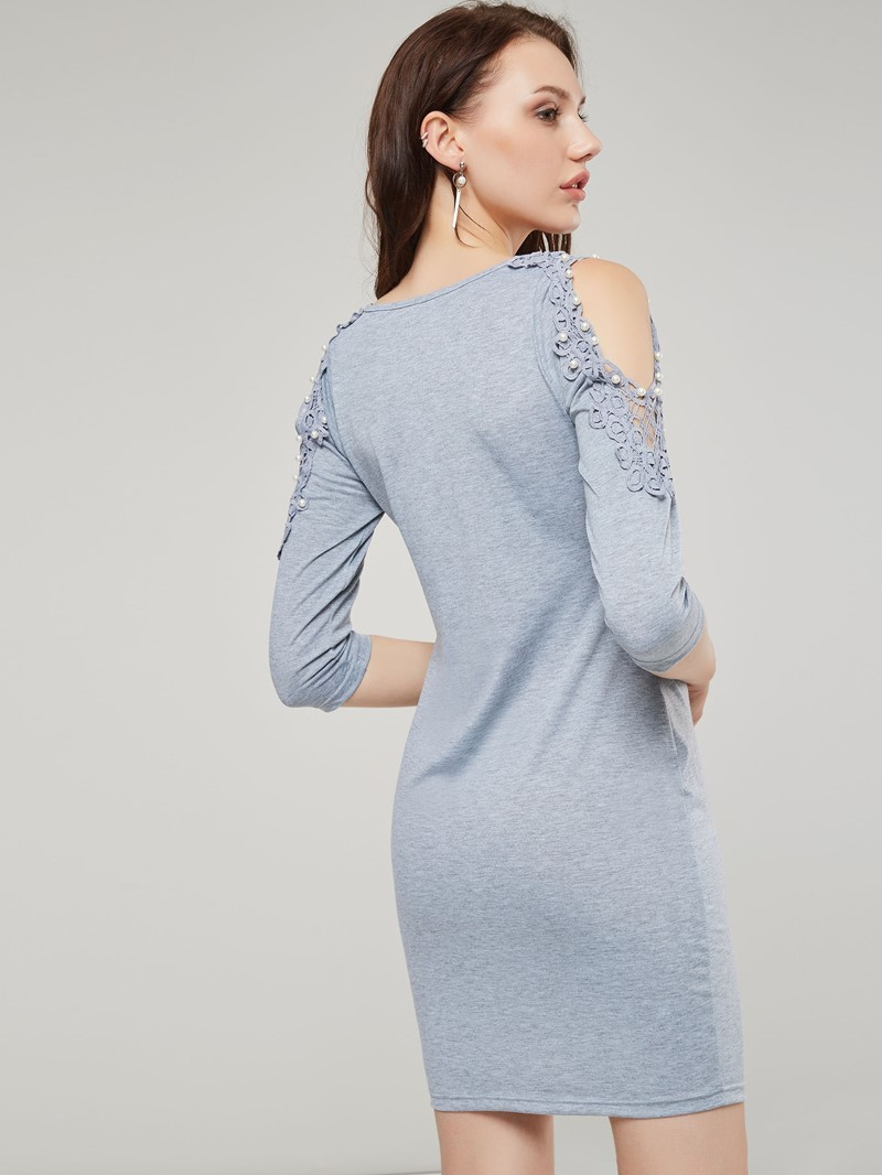 Ericdress Three-Quarter Sleeve Bead Bodycon Dress