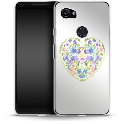 Google Pixel 2 XL Silikon Handyhuelle - Love Folk Olive Green von Amy Sia