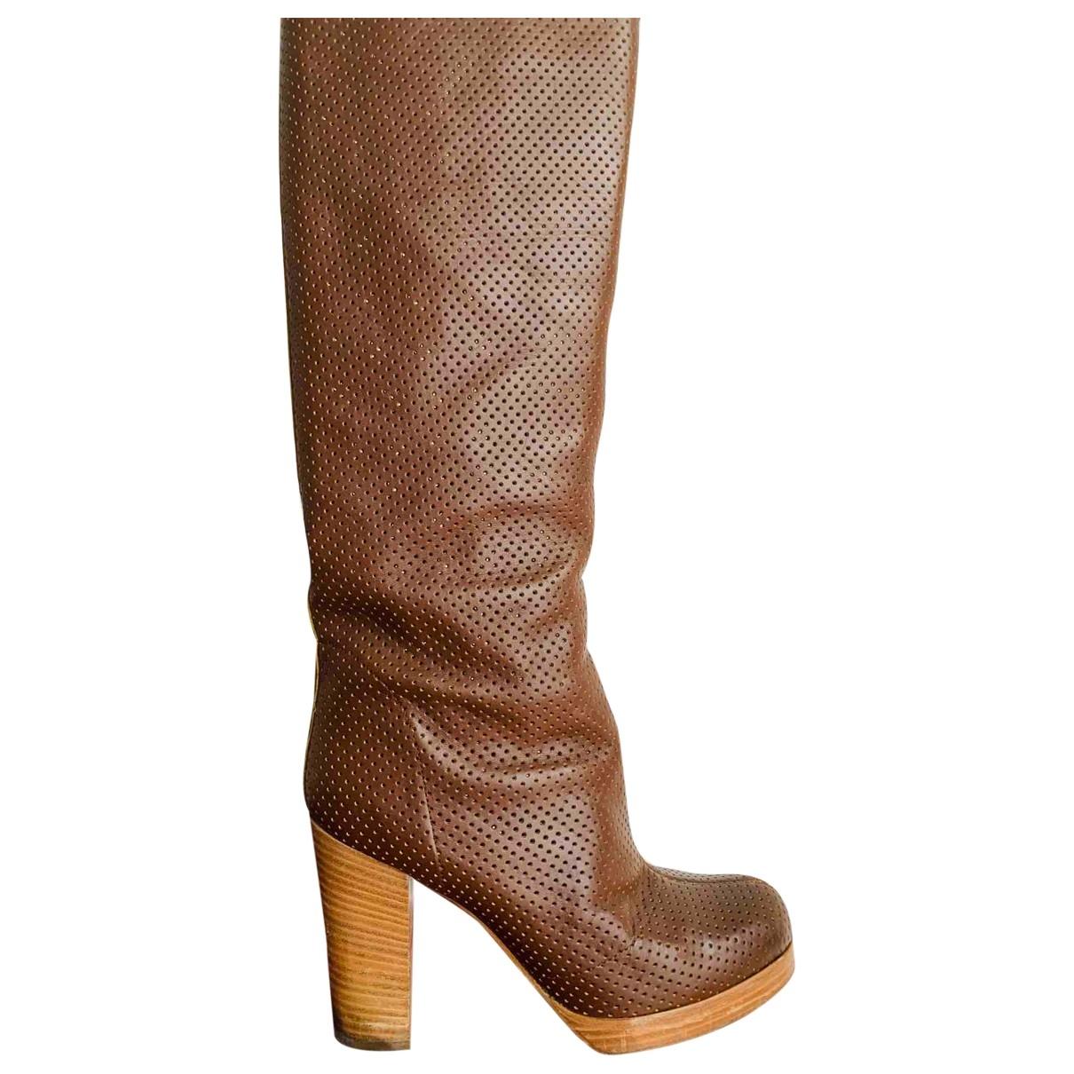 Sergio Rossi - Bottes   pour femme en cuir - camel