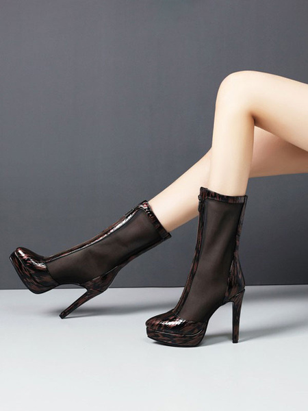 Milanoo Black Summer Boots Pointed Toe Front Rhinestone Zipper Stiletto Short Summer Boots
