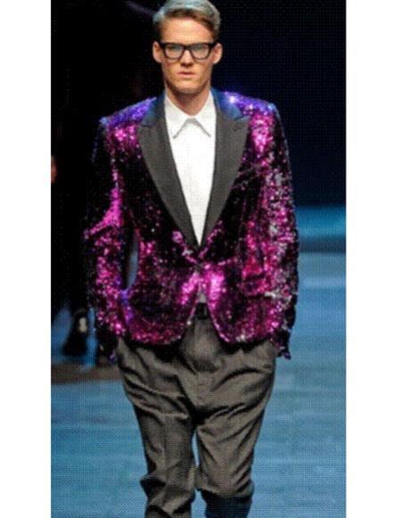 Mens shiny sequin peak black lapel blazer fashion pink sportcoat