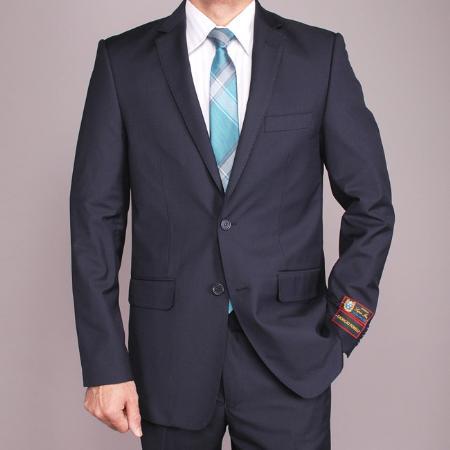 Mens Navy Blue 2button Slimfit Suit