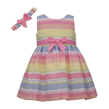 Bonnie Jean Multicolor Stripe Baby Girls Sleeveless Striped A-Line Dress, 3-6 Months , Pink