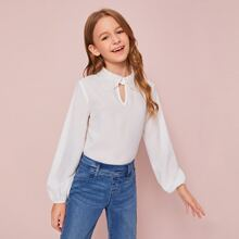 Girls Cut Out Front Guipure Lace Collar Top