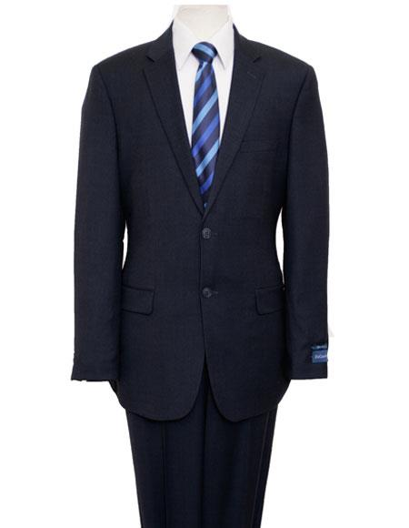 Men's Birdseye Navy Single Breasted Notch Lapel Suit Flat Front Pant