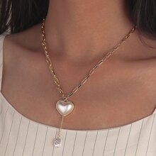 Collar de cadena con perla artificial