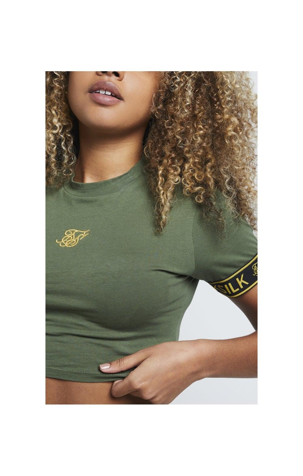 SikSilk Tape Cuff Crop Tee - Bronze Green  WOMEN SIZES: 6-XXS