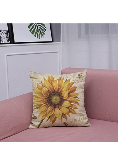 1pc 45 X 45cm Sunflower Print Yellow Pillow Case - One Size