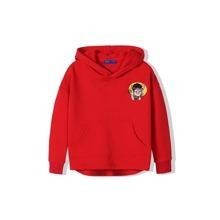 Girls Pig Embroidery Kangaroo Pocket Hoodie